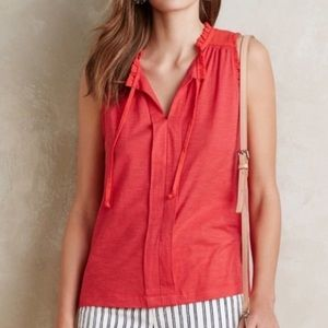 ANTHRO MEADOW RUE Red Coral Ruffle Tank Size L